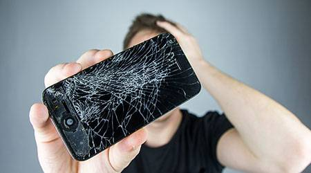 broken iPhone shutter stock